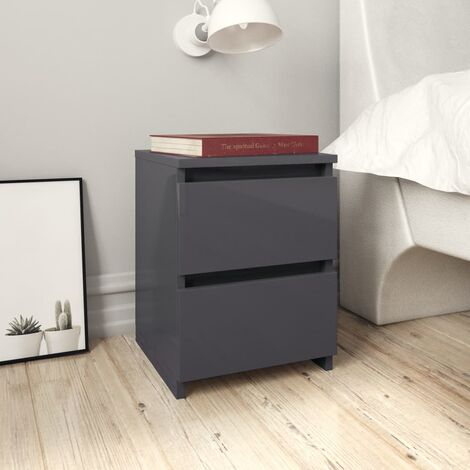 Bedside Cabinet High Gloss Grey 30x30x40 cm Chipboard
