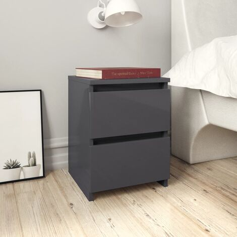 Bedside Cabinet High Gloss Grey 30x30x40 cm Chipboard - Grey