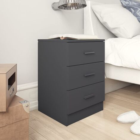 Bedside Cabinet High Gloss Grey 38x35x56 cm Chipboard