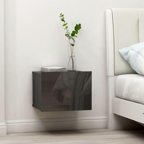Bedside Cabinet High Gloss Grey 40x30x30 cm Chipboard