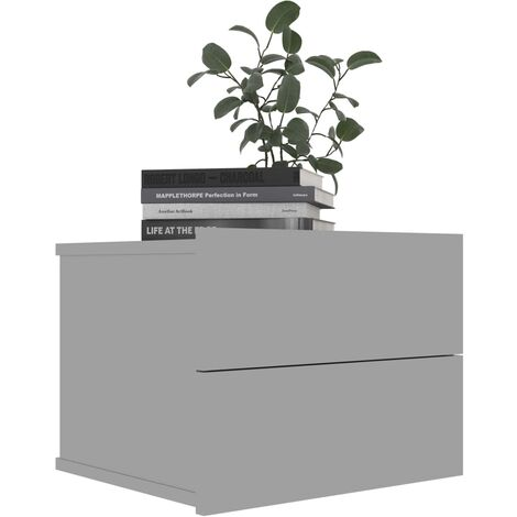 Bedside Cabinet High Gloss Grey 40x30x30 cm Chipboard