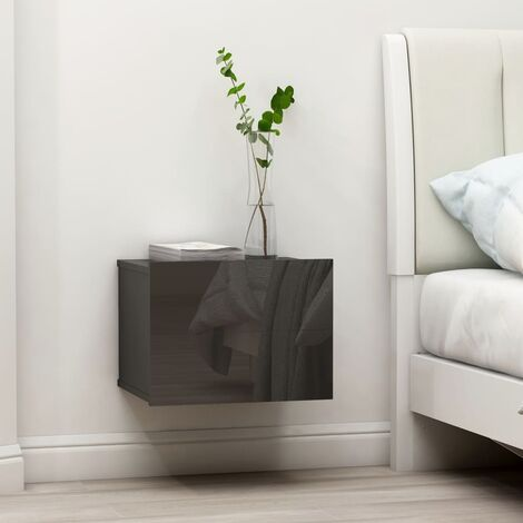 Bedside Cabinet High Gloss Grey 40x30x30 cm Chipboard - Grey