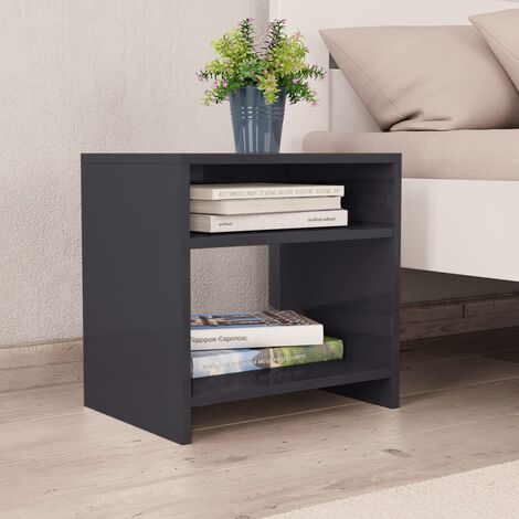 Bedside Cabinet High Gloss Grey 40x30x40 cm Chipboard