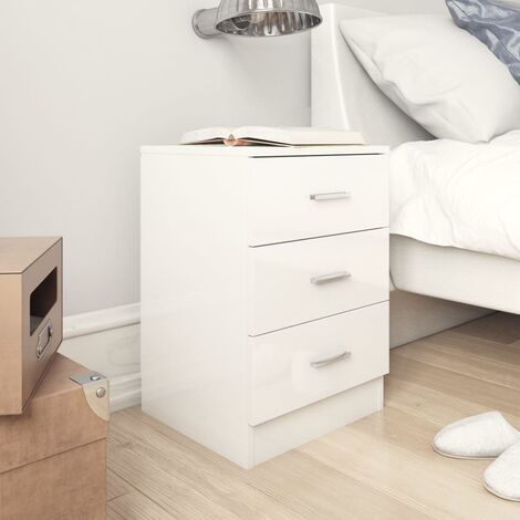 Bedside Cabinet High Gloss White 38x35x56 cm Chipboard - White