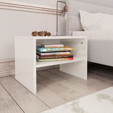 Bedside Cabinet High Gloss White 40x30x30 cm Chipboard