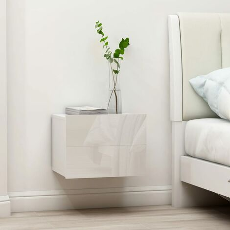 Bedside Cabinet High Gloss White 40x30x30 cm Chipboard - White
