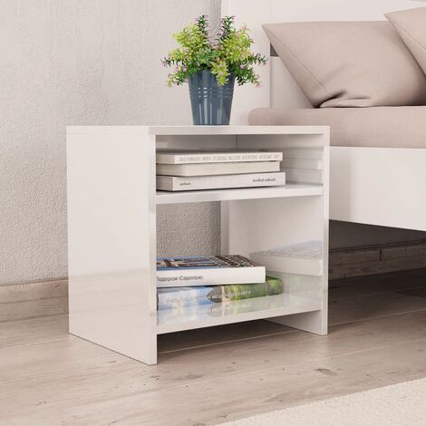 Bedside Cabinet High Gloss White 40x30x40 cm Chipboard - White
