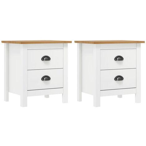 Bedside Cabinet Hill Range 2 pcs White 46x35x49.5 cm Solid Pine Wood