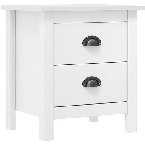 Bedside Cabinet Hill Range White 46x35x49.5 cm Solid Pine Wood