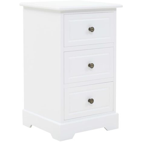 Bedside Cabinet MDF and Pinewood 35x32x59 cm - White