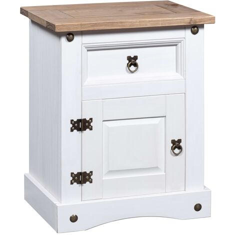 Bedside Cabinet Mexican Pine Corona Range White 53x39x67 cm