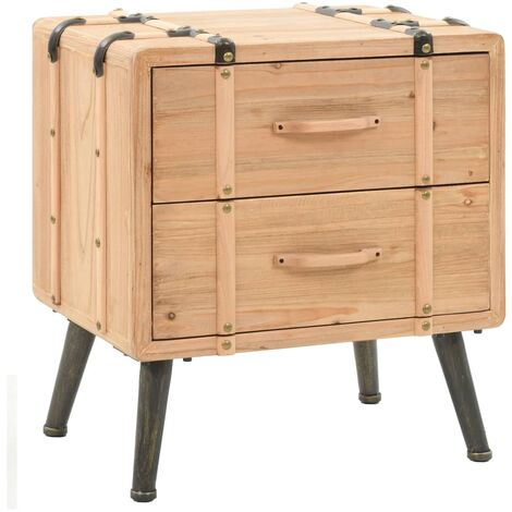 Bedside Cabinet Solid Fir Wood 50x35x57 cm