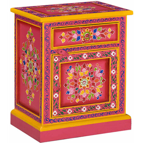 Bedside Cabinet Solid Mango Wood Pink Hand Painted - Pink