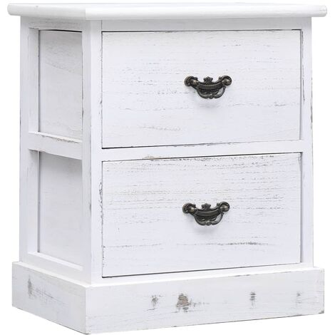 Bedside Cabinet White 38x28x45 cm Paulownia Wood