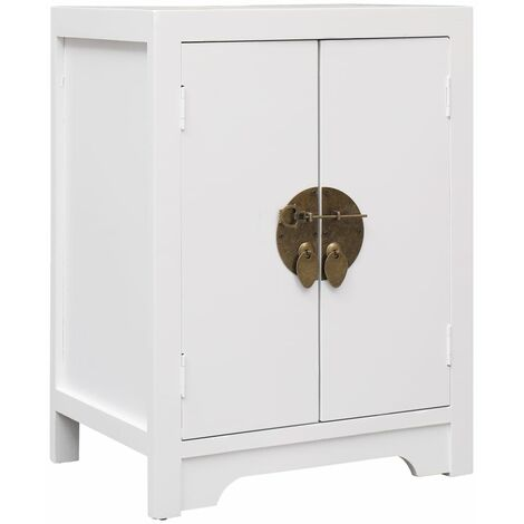 Bedside Cabinet White 38x28x52 cm Paulownia Wood