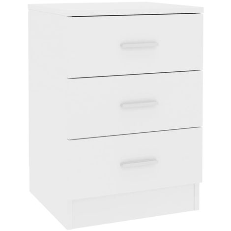 Bedside Cabinet White 38x35x56 cm Chipboard