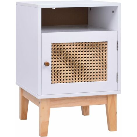 Bedside Cabinet White 40x40x61 cm MDF and Rattan