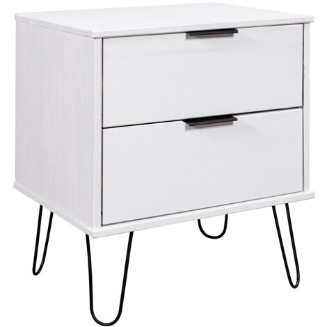 Bedside Cabinet White 45x39.5x57 cm Solid Pine Wood