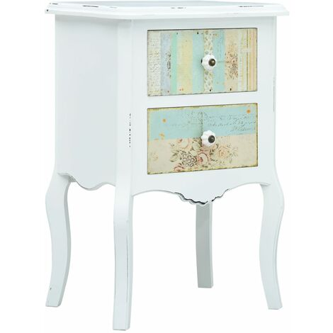 Bedside Cabinet White and Brown 43x32x65 cm MDF - Multicolour