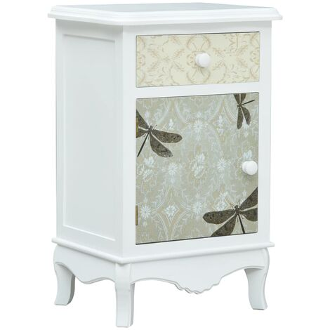 Bedside Cabinet White and Grey 40x30x62 cm MDF