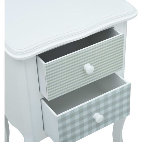 Bedside Cabinet White and Grey 43x32x65 cm MDF