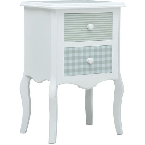 Bedside Cabinet White and Grey 43x32x65 cm MDF - Multicolour