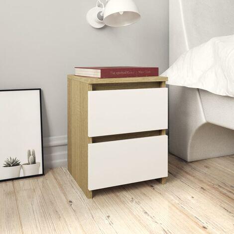 Bedside Cabinet White and Sonoma Oak 30x30x40 cm Chipboard - Multicolour