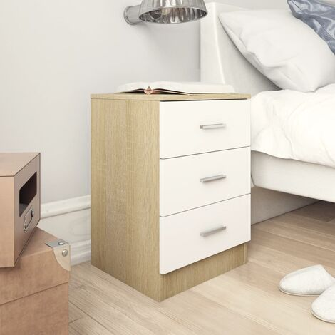 Bedside Cabinet White and Sonoma Oak 38x35x56 cm Chipboard