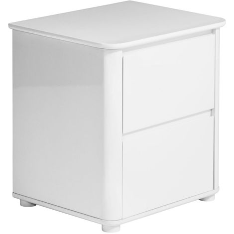 Bedside cabinet, white high gloss,2 drawer