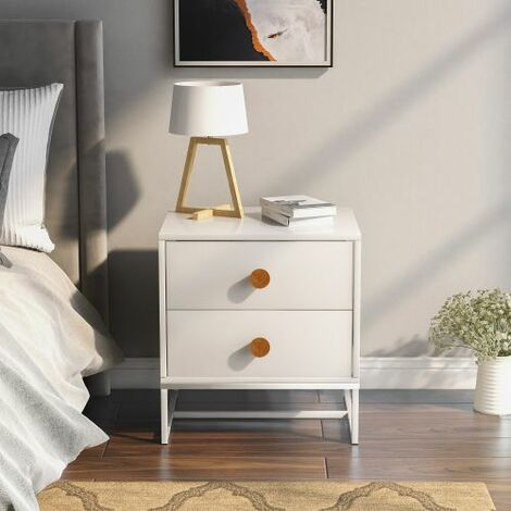 Bedside Cabinet with 2 Drawers, MDF Wooden & Metal Frame, Side Table with Wood Handles for Home Office Living Room Bedroom, Coffee Table, Storage Unit
