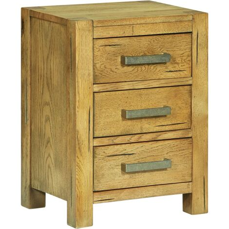 Bedside Cabinet with 3 Drawers 40x30x54 cm Rustic Oak Wood