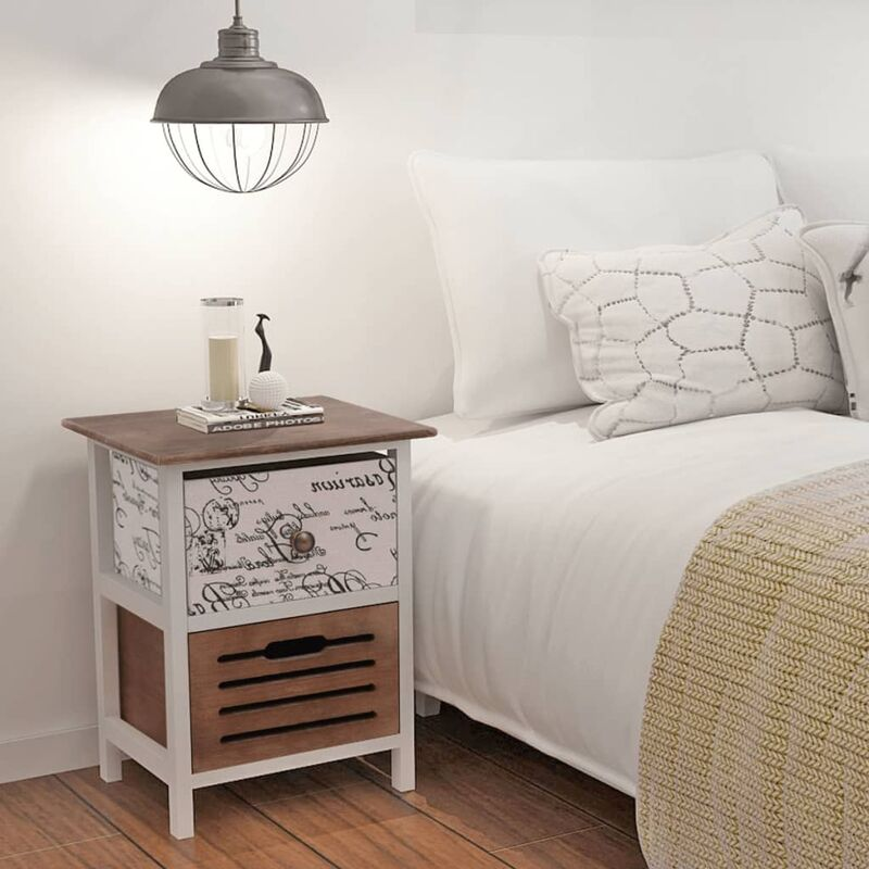 Bedside Cabinet Wood - Multicolour - Vidaxl