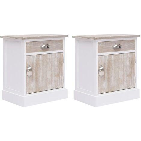 Bedside Cabinets 2 pcs 38x28x45 cm Paulownia Wood