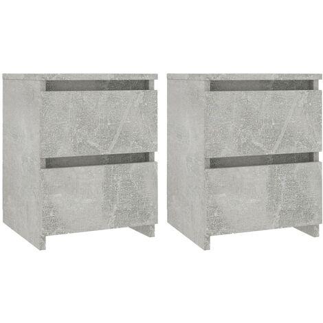 Bedside Cabinets 2 pcs Concrete Grey 30x30x40 cm Chipboard