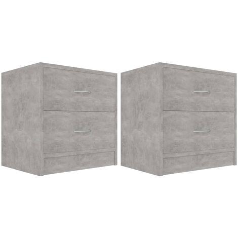 Bedside Cabinets 2 pcs Concrete Grey 40x30x40 cm Chipboard