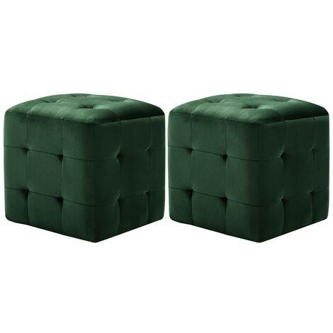 Bedside Cabinets 2 pcs Green 30x30x30 cm Velvet Fabric