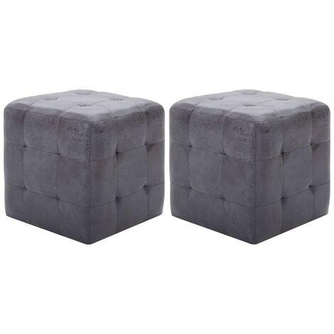 Bedside Cabinets 2 pcs Grey 30x30x30 cm Faux Suede Leather