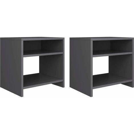 Bedside Cabinets 2 pcs Grey 40x30x40 cm Chipboard