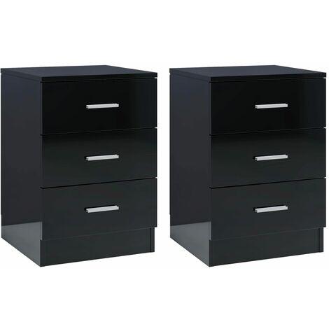 Bedside Cabinets 2 pcs High Gloss Black 38x35x56 cm Chipboard