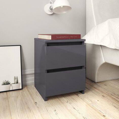 Bedside Cabinets 2 pcs High Gloss Grey 30x30x40 cm Chipboard