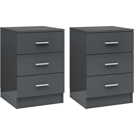 Bedside Cabinets 2 pcs High Gloss Grey 38x35x56 cm Chipboard