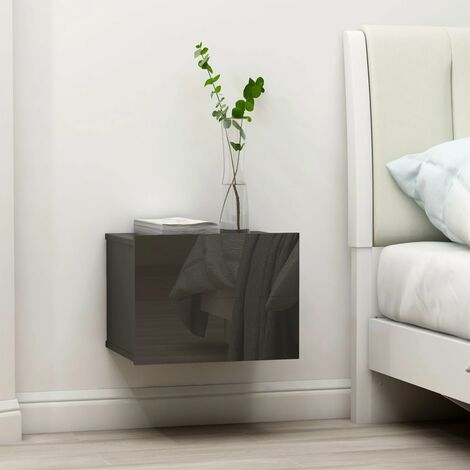 Bedside Cabinets 2 pcs High Gloss Grey 40x30x30 cm Chipboard