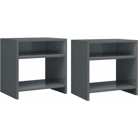 Bedside Cabinets 2 pcs High Gloss Grey 40x30x40 cm Chipboard