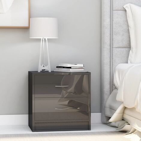 Bedside Cabinets 2 pcs High Gloss Grey 40x30x40 cm Chipboard - Grey
