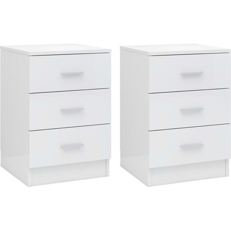Bedside Cabinets 2 pcs High Gloss White 38x35x56 cm Chipboard
