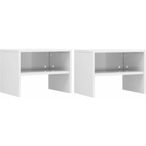 Bedside Cabinets 2 pcs High Gloss White 40x30x30 cm Chipboard