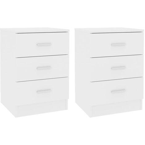 Bedside Cabinets 2 pcs White 38x35x56 cm Chipboard