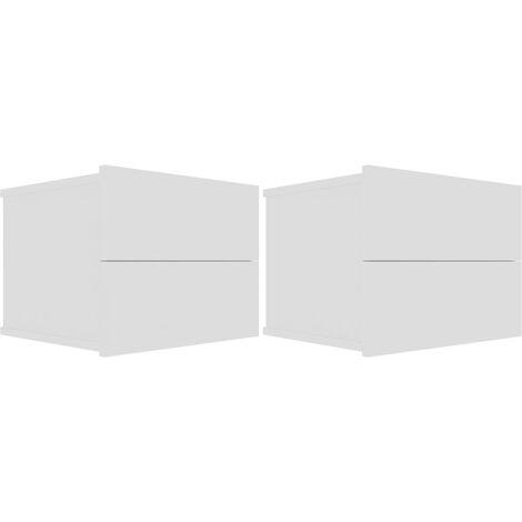 Bedside Cabinets 2 pcs White 40x30x30 cm Chipboard