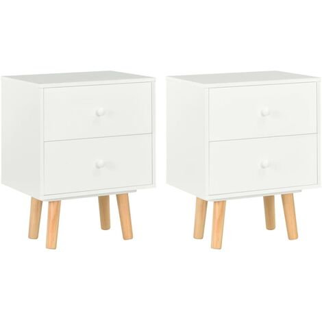Bedside Cabinets 2 pcs White 40x30x50 cm Solid Pinewood