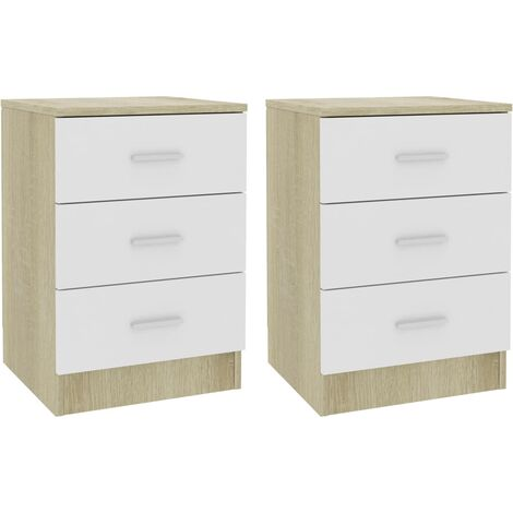 Bedside Cabinets 2 pcs White and Sonoma Oak 38x35x56 cm Chipboard